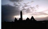 County Galway: Kilmacduagh at dusk